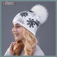 XTHREE real mink pom poms wool rabbit fur knitted hat Skullies winter hat for women girls hat feminino beanies hat