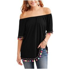 9b0e183807fae Time and Tru Women s Peasant Tassel Top Image 1 of 5 Walmart Outfits