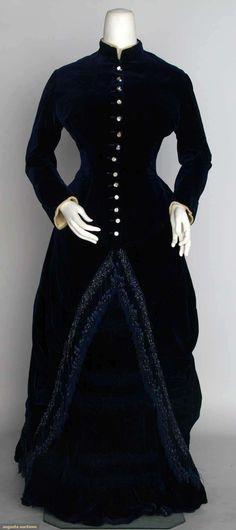 Navy Velvet Bustle Dress, C. 1882, Augusta Auctions, November 13, 2013 - NYC
