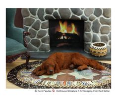 Snoozing Irish Red Setter 1:12 sculpture of polyclay & hand-dyed chestnut alpaca