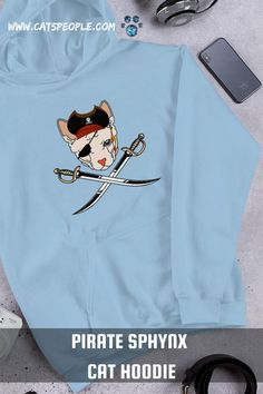A pirate sphynx cat design for sphynx cat owners and cat lovers! A fun unique design for all bald cat moms and cat dads. This pirate cat hoodie is just what a sphynx cat parent will love, especially if you're a fan of pirates. It's soft, stylish and cozy. The purrfect go-to hoodie to curl up in on cooler eveningswith your sphynx cat. #piratecat #sphynxcat #sphynxcatlover #sphynxcathoodie #sphynxcatmom #funnycathoodie #funnysphynxcat #funnycat
