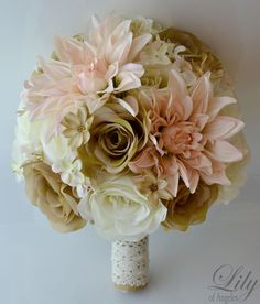 "Peach Dahlia, ivory and tan open Roses accented with peach Rock Cress and tan mini Cosmos. The handle is wrapped in burlap. (Thick handle). 4 Bridesmaid bouquet (8"" round). Peach Dahlias, ivory and tan open Roses accented with peach Rock Cress and tan mini Cosmos. 