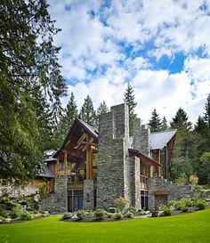 Stone and log home.