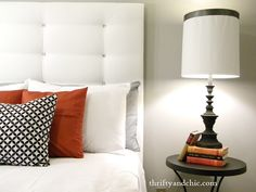 DIY tufted headboard. Super easy to make with the faux tufts and all for under $20!
