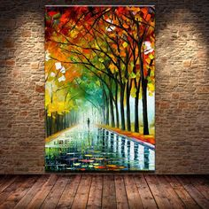 Style Your Home Today With This Amazing 1 Panel The Vibrant Autumn Street Trees Unframed Wall Canvas Art For $189.00  Discover more canvas selection here http://www.octotreasures.com  If you want to create a customized canvas by printing your own pictures or photos, please contact us.