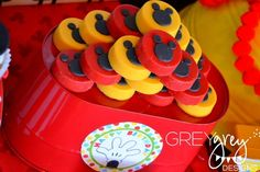 Chocolate covered Oreos at a Mickey Mouse Party #mickeymouse #partycookies