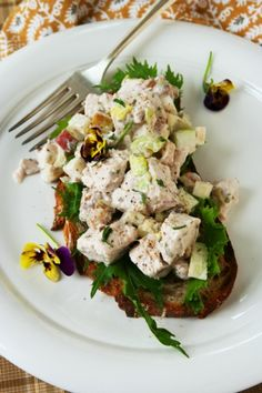 healthy waldorf chicken salad with #apples and walnuts | Healthy Seasonal Recipes @Katie Webster