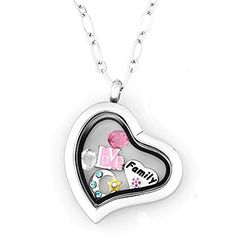 Mom Birthday Gifts I Love Family To The Moon and Back Heart Floating Charm Locket Chain Pendant Necklace * Visit the image link more details.