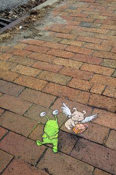 Blank Slate Creamery ice-cream shop, Ann Arbor, Michigan (December 11, 2014) - street art by David Zinn
