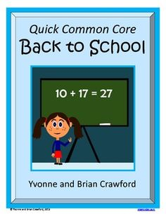 Back to School Quick Common Core for 2nd grade is a packet of ten different math worksheets featuring a fun back to school theme. $