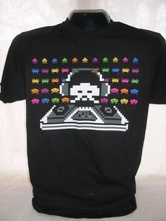 Space Invaders T-Shirt Tee Arcade Video Game Apparel Taito Bally New XL 17
