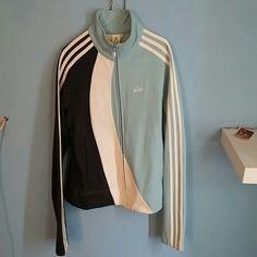 Adidas sport jacket Blue, white n baby blue adidas sport jacket one of a kind never seen one like it. Adidas Jackets & Coats