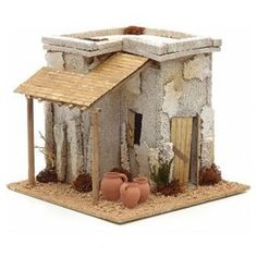 Nativity setting, Arabian house with carpenter workshop Christmas Booth, Christmas Nativity Scene, Christmas Crafts For Kids, Christmas Home, Christmas Decorations, Christmas Ornaments, Pottery Houses, Ceramic Houses, Nativity Sets For Sale