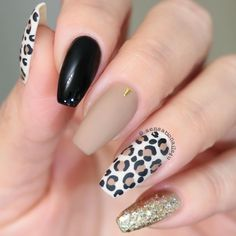 Go through our collection of the best animal print nail art ideas, and get those nails painted now. Leopard Nail Art, Leopard Print Nails, Black Nail Art, Gorgeous Nails, Love Nails, Pretty Nails, My Nails, Nail Art Cute, Cute Acrylic Nails