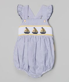 Navy & Yellow Sailboat Smocked Bubble Bodysuit - Infant & Toddler by Stellybelly #zulily #zulilyfinds