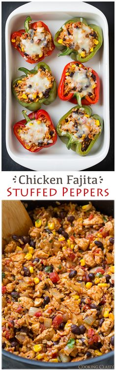 Chicken Fajita Stuffed Bell Peppers – These healthy peppers are delicious! This would make a great taco filling if you don't want to do peppers. It has chicken brown rice black beans corn tomatoes onions seasonings lime and cilantro. Yummy Recipes, Mexican Food Recipes, Dinner Recipes, Cooking Recipes, Yummy Food, Healthy Recipes, Recipies, Mexican Dishes, Dinner Menu