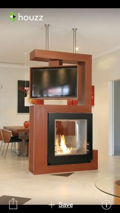 Dual use two sided fireplace and tv awesome