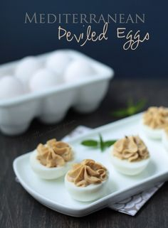 Mediterranean Deviled Eggs - a low carb recipe from ibreatheimhungry.com