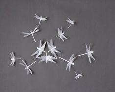 3D Wall Dragonflies, Dragonfly Nursery Wall Art in Silver Metallic Gray