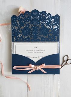 Wedding Planning elegant navy blue laser cut wedding invitations with glitter silver layer - Navy blue and peach or pink wedding color combination really rocks your wedding day, especially with this elegant matched laser cut wedding invitation. Laser Cut Wedding Invitations, Elegant Invitations, Diy Invitations, Wedding Invitation Design, Wedding Stationery, Invitations Online, Weeding Invitation Ideas, Laser Cut Invitation, Invitation Kits