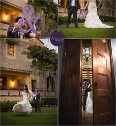 """Bride and Groom portraits -- Deering Estate -- Coral Gables Florida Miami -- Large """" and """" sign as a prop"""