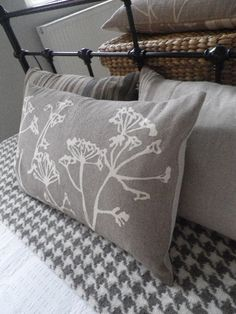 hand printed taupe cow parsley linen cushion