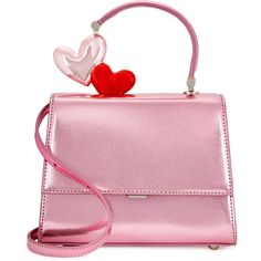 Ming Ray Je T'aime Metallic Pink Leather Box Bag ($1,115) ❤ liked on Polyvore featuring bags, handbags, shoulder bags, heart purse, pink handbags, genuine leather purse, metallic purse and pink purse
