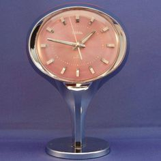 Oval Pink & Chrome Retro Wind up Alarm Clock by Coral