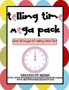 Over 50 pages of telling time fun! This mega pack includes worksheets, posters, center activities, word problems, and much more!Students will p...