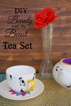 DIY Easy Beauty & the Beast Tea Set using Vinyl and Silhouette Cameo Cutting Machine