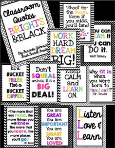 & Black Classroom Quotes Bright and black chevron posters: These posters are great to brighten up any classroom!Bright and black chevron posters: These posters are great to brighten up any classroom! First Grade Classroom, Kindergarten Classroom, School Classroom, School Fun, Future Classroom, School Stuff, Classroom Quotes, Classroom Posters, Classroom Themes