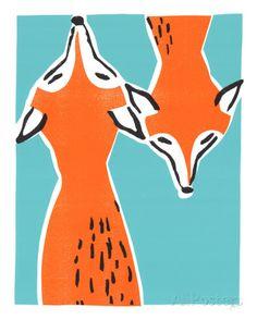 Friendly Foxes Serigrafia por Print Mafia na AllPosters.com.br