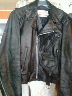 SEARS Vtg  Retro 70s Leather MOTORCYCLE Biker JACKET Mens L large Size 40  Black #Sears #Motorcycle