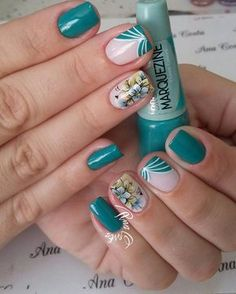 60 ideas fails design green turquoise for 2019 Mani Pedi, Manicure And Pedicure, Toe Nails, Coffin Nails, Aqua Nails, Toe Nail Designs, Chrome Nails, Trendy Nails, Nails Inspiration