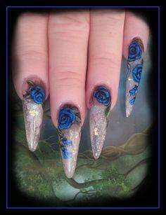 Blue Roses II by Ivystar - Nail Art Gallery nailartgallery.nailsmag.com by Nails Magazine www.nailsmag.com #nailart