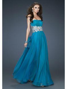 Ocean Blue Dress With Jeweled Belt