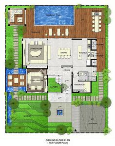 Pool House Plans, Courtyard House Plans, House Layout Plans, Duplex House Plans, Dream House Plans, Modern House Plans, House Layouts, Home Design Floor Plans, Home Room Design