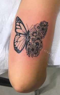 cool-tattoo-designs-butterfly-flowers, would do lilies Butterfly Tattoo Cover Up, Butterfly Tattoo On Shoulder, Butterfly Tattoos For Women, Butterfly Tattoo Designs, Sunflower Tattoo Shoulder, Sunflower Tattoo Small, Flower Tattoos, Small Tattoos, Henna Tattoos
