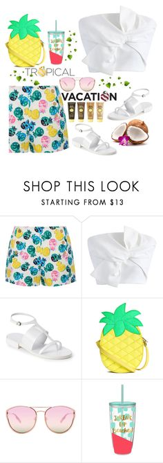 """""""TROPICAL VACATIONNN!!"""" by j4wahir ❤ liked on Polyvore featuring Draper James, Chicwish, Jil Sander, Quay, Sun Bum, fruits, contestentry, womensFashion, polyvorefashion and polyvoreset"""
