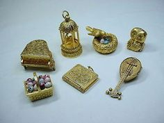 7-Max-Factor-Avon-Perfume-Solids-Gilded-Cage-Basket-Lot