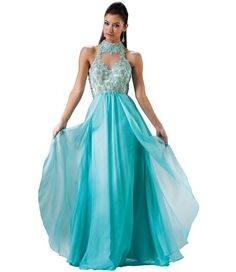 Gorgeous aqua blue prom dress 2015 with beaded embroiderry halter top and long flowy skirt  long aqua blue prom dress 2015 with a slit by Mac Duggal CASSANDRA