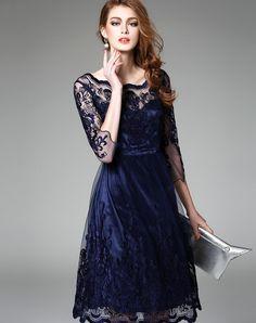 Royal Blue Embroidered Lace Sheer Mesh Midi Dress, Blue, Ewheat | VIPme