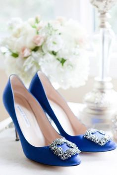 The infamous Manolo Blahnik blue jewelled heel