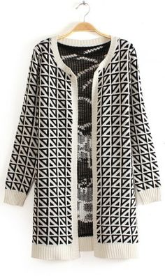Geometric pattern long-sleeved woven sweater white. perfect for fall