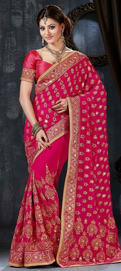 190867: Pink and Majenta  color family Embroidered Sarees, Party Wear Sarees   with matching unstitched blouse.