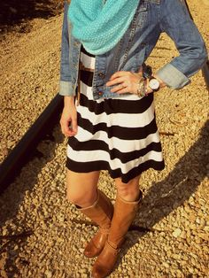 Stripe dress, denim jacket, bold snood and riding boots.
