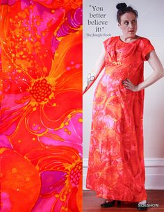 VTG 60s Hawaiian Togs Psychedelic OrangeHot Pink & Fuschia Tropical Floral Maxi DRESS // Size Large, $54.00