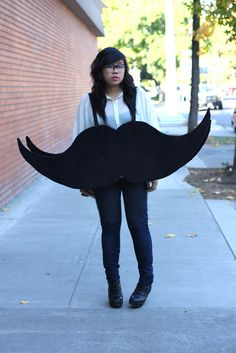 Make a mustache of yourself for a Halloween costume that will grab all the attention.  sc 1 st  Pinterest & mustache costume (the server at Tamarack in Lakeside MT was rocking ...