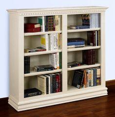 Hampton 48 in. Double Bookcase in Pearl White Finish 283414