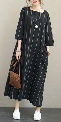 CASE STRIPED LOOSE MAXI DRESS FOR WOMEN Q1337 - #case #dress #loose #Maxi #q1337 #striped #women